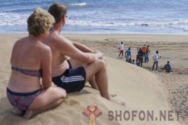 Nudister På Stranden